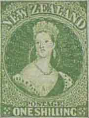 NZ 1855 One Shilling, full-face queen.